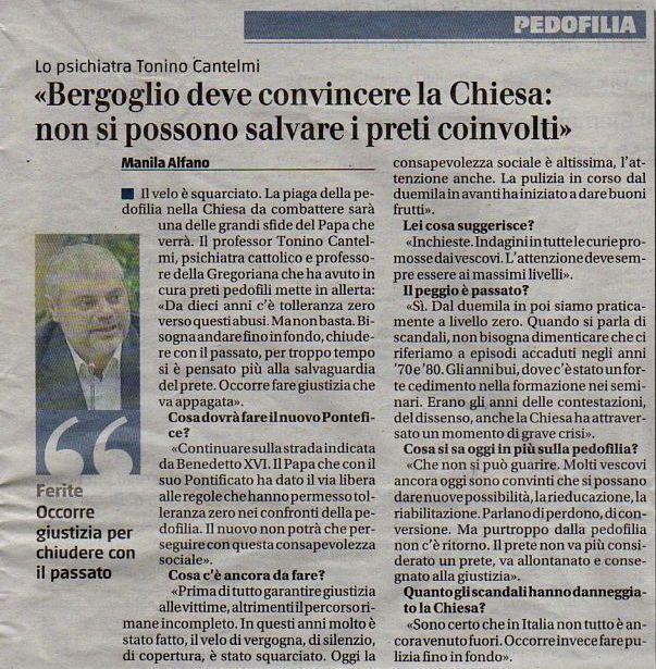 Tonino Cantelmi intervista il giornale