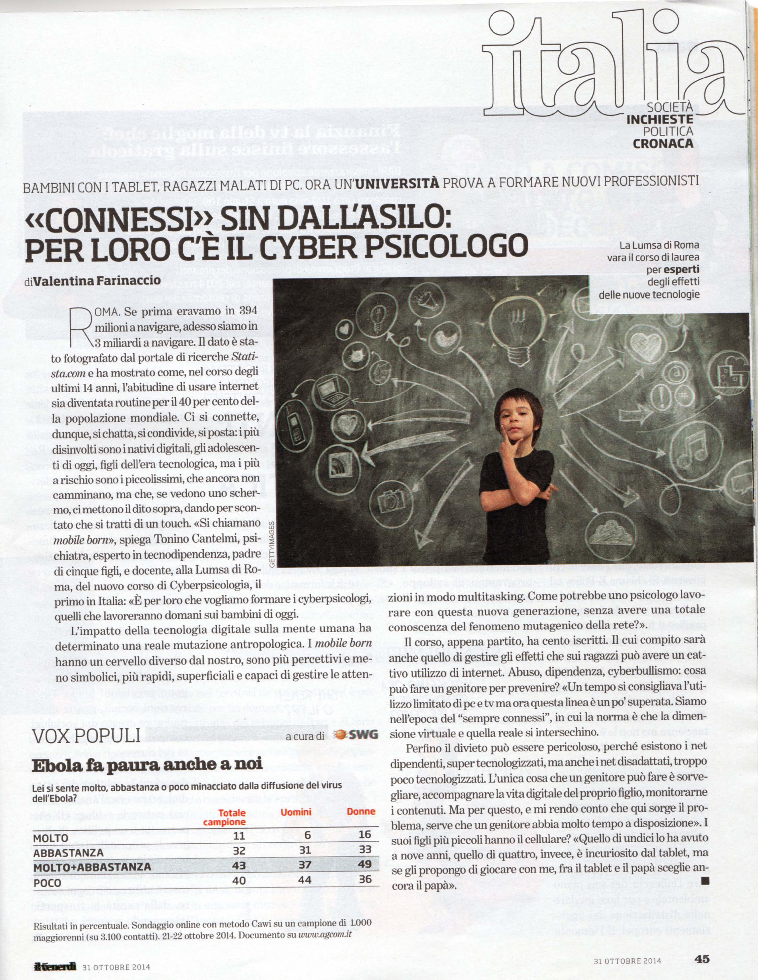 Corso di Cyberpsicologia Docente Tonino Cantelmi Lumsa Roma