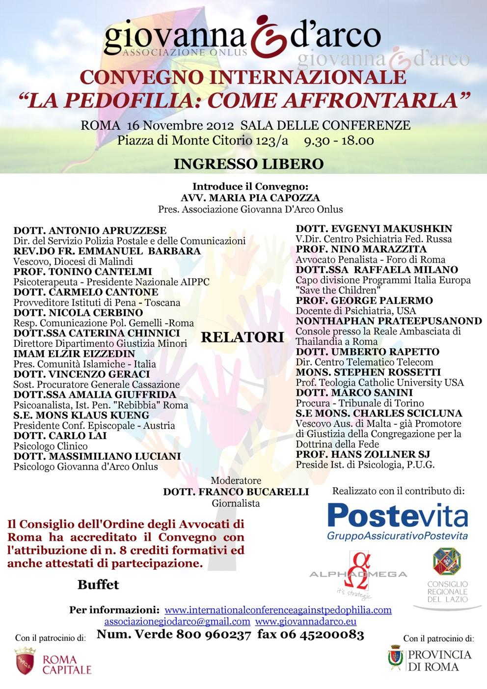 Convegno internazionale Pedofilia, Relatore Tonino Cantelmi